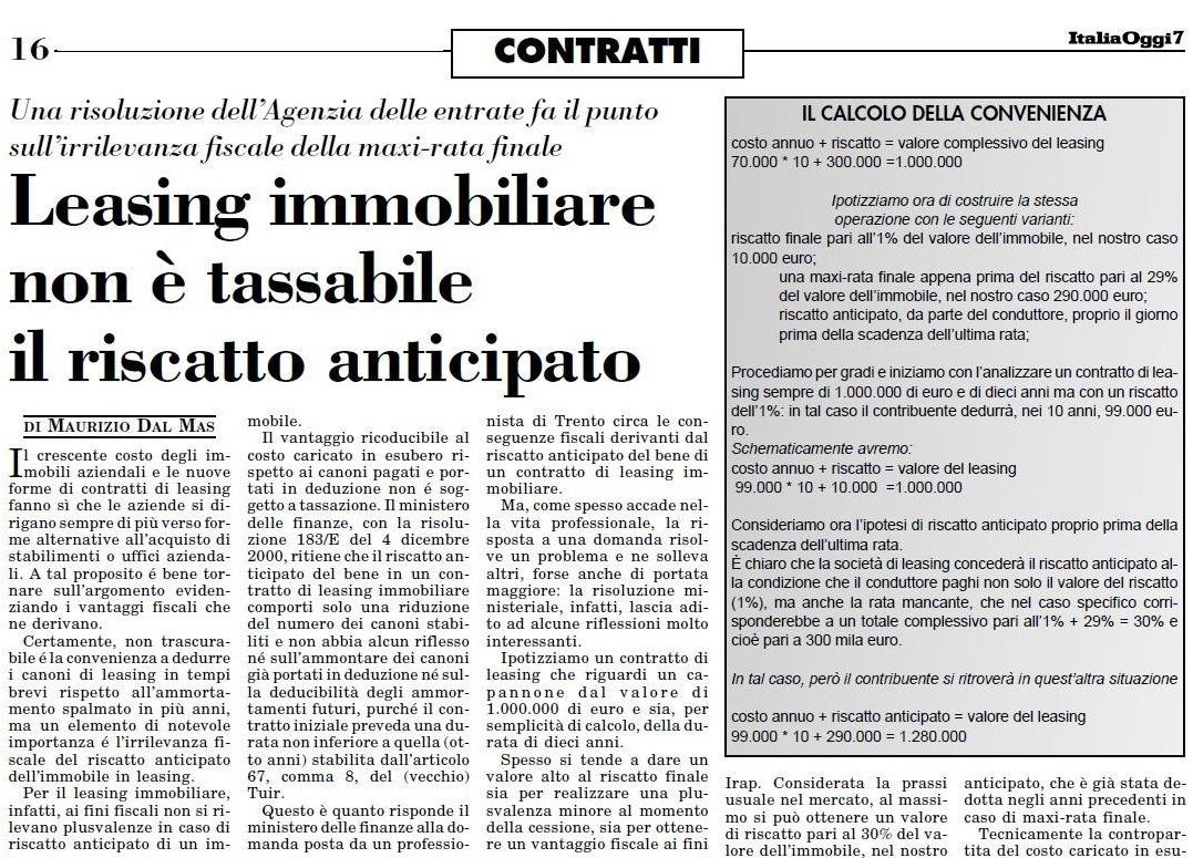 Articoli Dott. Maurizio Dal Mas