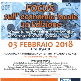 """Focus Economia 3° Edizione – 3 febbraio 2018 promosso da Lions Club Merate e dagli Studi Professionali Associati del dott. Maurizio Dal Mas"""""""